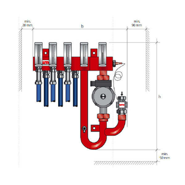Typical Type RUV Blending Manifold for Anti-Heave Heating System Dimensions